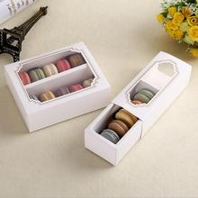 20pcs/lot White Macaroon paper Drawer box packing with PVC window,Wedding/Birthday party Biscuits gift boxes for guests