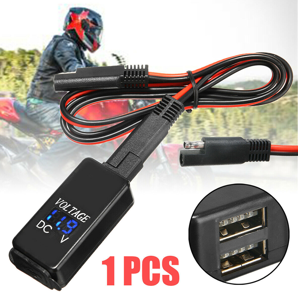 Waterproof Motorcycle 12V SAE to Dual USB Phone GPS Charger Adapter /& Voltmeter