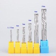 """Комплект из 2 предметов SHK нож """"Gong"""" 3,175/4/5/6/8/10 вверх и вниз Cut двух флейт карбида спираль стана инструмент резаки для фрезерный станок с ЧПУ, дерево, алюминиевая Концевая фреза Бит"""