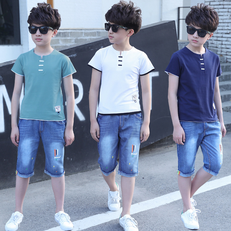 Kids Clothes Boys 4 5 6 7 8 9 10 11 12 Years Washed Denim Shorts Short Sleeve T-shirt Summer Casual Children Clothing Set Boy dark blue ripped details classic collar short sleeve men s casual denim shirt