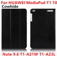 Case Cowhide For Huawei MediaPad T1 10 Smart cover Genuine Leather Protective Tablet For HUAWEI Note9.6 T1-A21W T1-A23LProtector