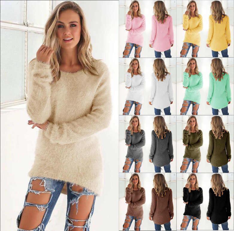 2019 가을 겨울 캐주얼 니트 숙 녀 스웨터 긴 소매 o-넥 여성 탑 봉 제 스웨터 plue 크기 3xl 풀 오버 스웨터
