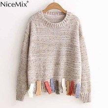 NiceMix 2019 Winter Kawaii Sweater Women Casual Pullover Sweet Tassel Sweaters Jumper Loose Female Knitted Tops Pull Femme