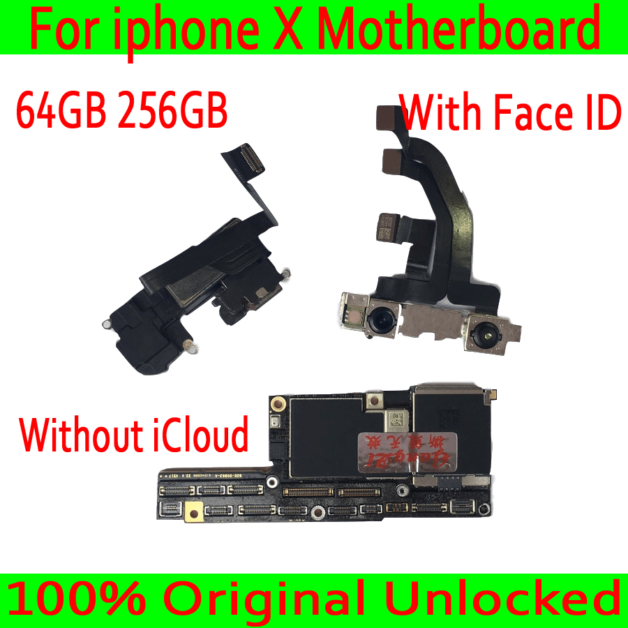 Original Unlock Motherboard For iPhone X Mainboard 64GB 256GB With Chips For iPhone X Logic Board with Face ID / Without Face ID