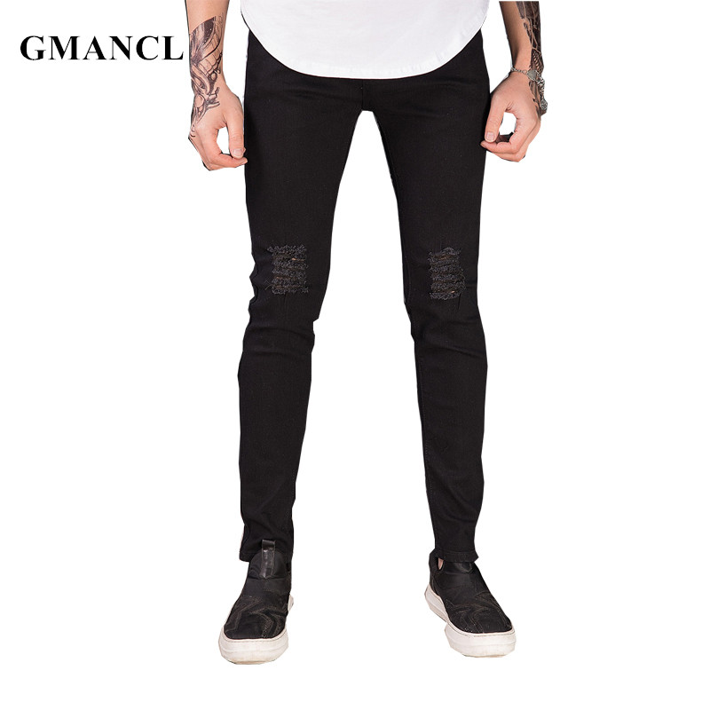 GMANCL Men Hip Hop Skinny Ripped Stretch Slim Black Jeans Fashion Swag Destroyed Men High Quality Casual Jogger Denim Trousers