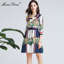MoaaYina Fashion Designer Runway dress Spring Summer Women Dress Lace-Up Print Sexy Elegant Dresses
