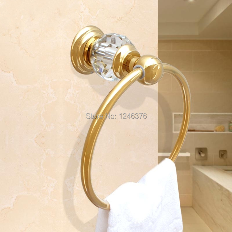 ФОТО Free shipping Luxury Crystal & Brass Gold Towel Ring, Towel Bar ,Towel Holder,Bathroom Accessories