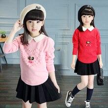 2016 female child sweater autumn and winter autumn child sweater 8 children's clothing 9 girl basic shirt 10 – 14