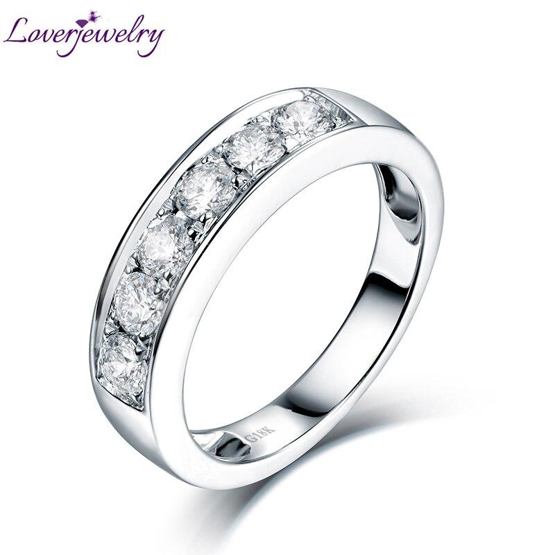 Любящее алмаз обручальное кольцо Настоящее 18 К белого золота для пары Обручение Ювелирные украшения оптовая продажа Бесплатная доставка