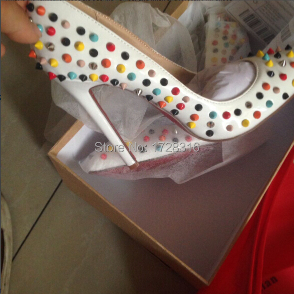 2015 Factory Women's White Genuine Leather Red Bottom Multi Colors Spike 12cm High Heels Ladies Designer Sexy Pumps - Super VIP shoe store
