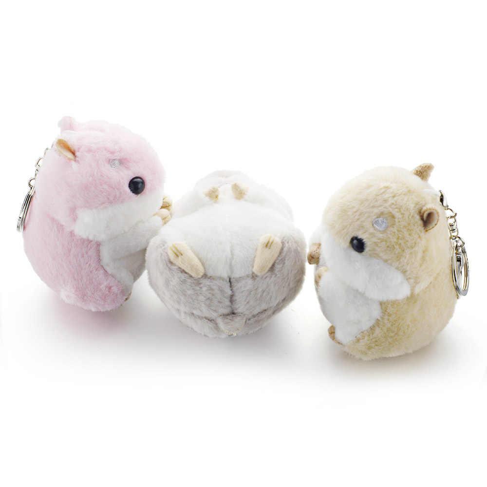Dalaful mini hamster keyrings chaveiros falso pele de coelho pompom bugigangas macias bolsa do carro pingente chaveiro titular anel k356