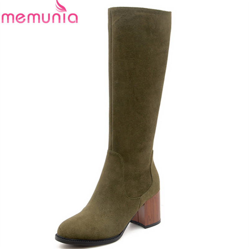 MEMUNIA 2018 new arrival knee high boots women top quality cow suede leather autumn boots zipper high heels dress shoes woman memunia 2018 new arrival knee high boots for women pointed toe suede leather boots zipper lace up autumn boots fashion shoes