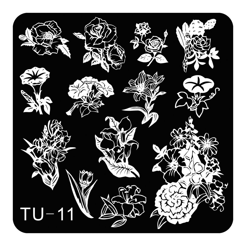 Lily Peony Flowers Theme Nail Art Stamping Template ...