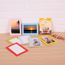 Photo Frame 6 Inch European Paper Card Creative Combination Colorful Building Hanging Type with Clip Rope Picture Marco Foto