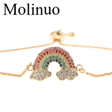 Molinuo New fashion Charm Rainbow Cloud Paving Multicolor CZ  Bracelet for Women girl Jewelry gift 2019