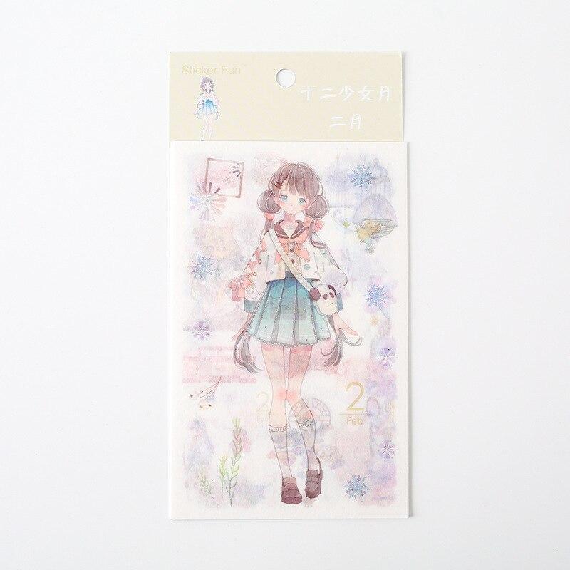 Kawaii Милая наклейка для девочки в стиле декабрина и ветра, декоративная наклейка для ноутбука, декоративная наклейка для рисования, канцелярские товары - Цвет: 2