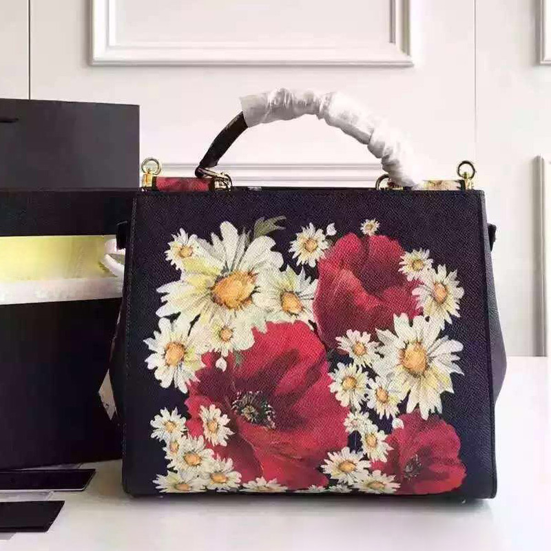26CM black daisy flower color printing Leather Handbag Bag Leather Shoulder Bag Handbag New Spring and