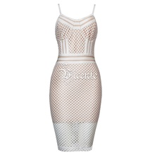 Free Shipping! 2018 New Chic Elegant Sexy Hollow Mesh Net Sleeveless Wholesale Women Bodycon Celebrity Party Bandage Dress