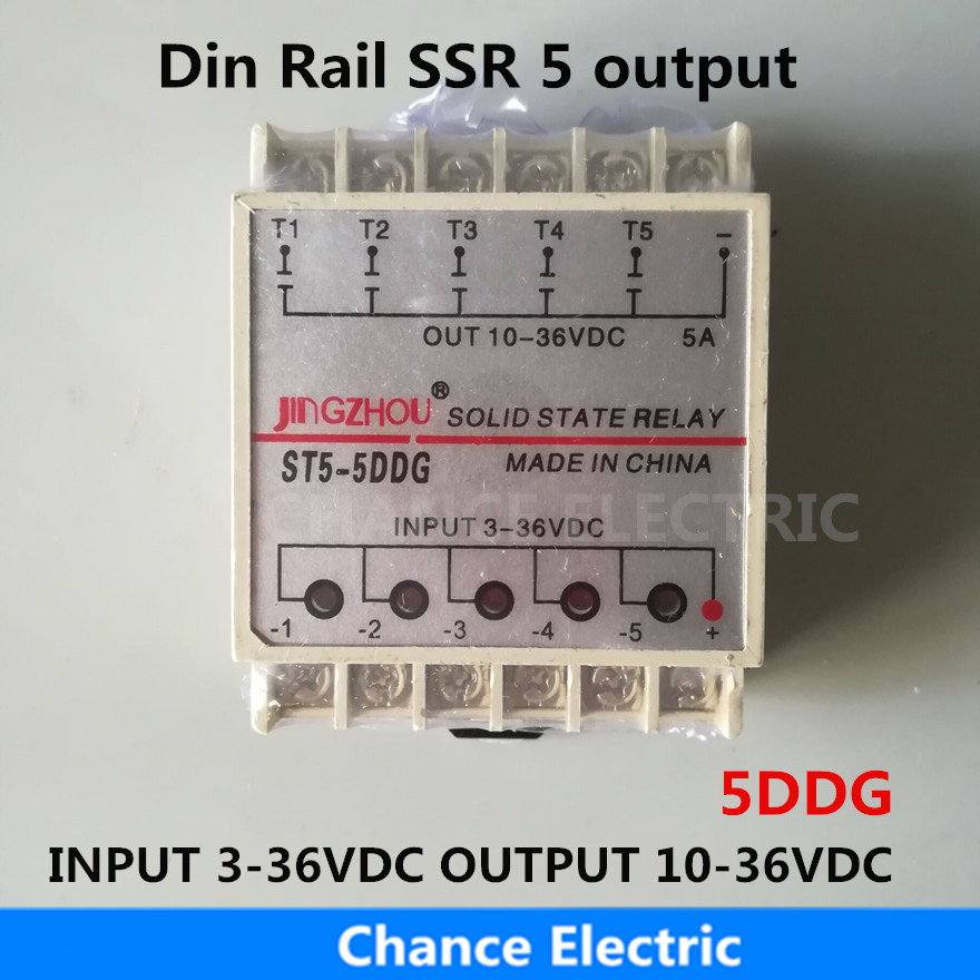 5DDG 5 Channel Din rail SSR quintuplicate five input 3~36VDC output 10~36VDC single phase DC Solid State Relay 1pc 10da 5 channel din rail ssr quintuplicate five input 3 32vdc output 24 380vac single phase dc solid state relay 10a plc hot page 5