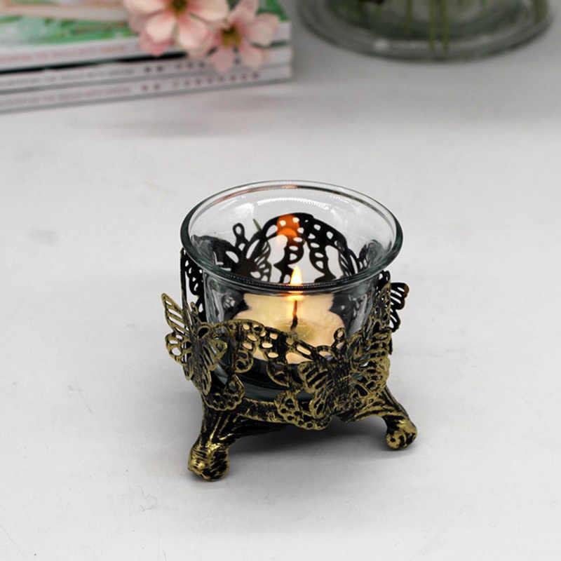 ถ้วยกลวงรูปร่างเทียน Holder งานแต่งงานเทศกาลเทียนแก้ว Stick Art เครื่องประดับ Book Store Coffee Shop เชิงเทียน
