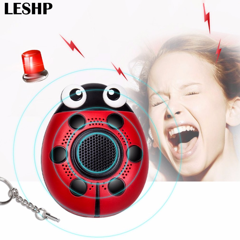 LESHP self defense key ring for alarm 130db anti-attack loud alarm defense personal with SOS lighting for outdoor safety girl 130db personal alarm key chain with mobile speaker personal alarm with led flashlight support oem logo