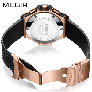 Image 3 - MEGIR Chronograph Sport Watch Men Creative Big Dial Army Military Quartz Watches Clock Men Wrist Watch Hour Relogio Masculino