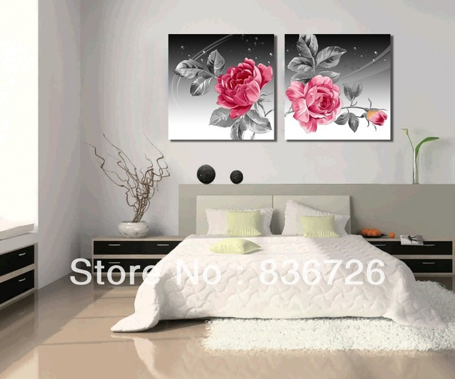 Superb 2 Piece Canvas Wall Art Flower Wall Canvas Paintings Black White Red  Contemporary Bedroom Set Headboard