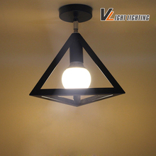 2016 New Vintage American Ceiling Lamp Metal Black Aisle Lights triangle  Ceiling Lamps For Home Modern Vintage Decorations