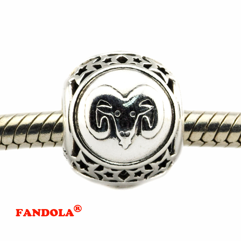 DIY Fits Pandora Bracelets Aries Star Sign Beads 925 Sterling Silver Jewelry Charms for Women Free Shipping