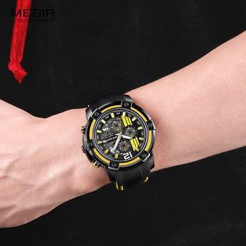 Megir Men's Black Silicone Strap Quartz Watches Chronograph Sports Wristwatch for Man 3atm Waterproof Luminous Hands 2097 Yellow 5