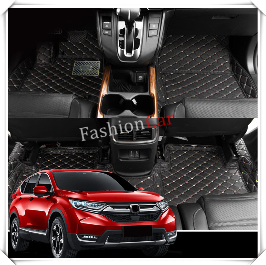 For HONDA for CRV 2017 2018 Custom car floor mats car styling accessories (Black color with beige thread) foot mat auto floor mats for honda cr v crv 2007 2011 foot carpets step mat high quality brand new embroidery leather mats