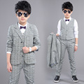 New Style Spring Autumn 2017 Boys Sets Fashion Striped 3 Pieces Suits High Quality Gentleman Turn-down Collar Clothing Hot Sale
