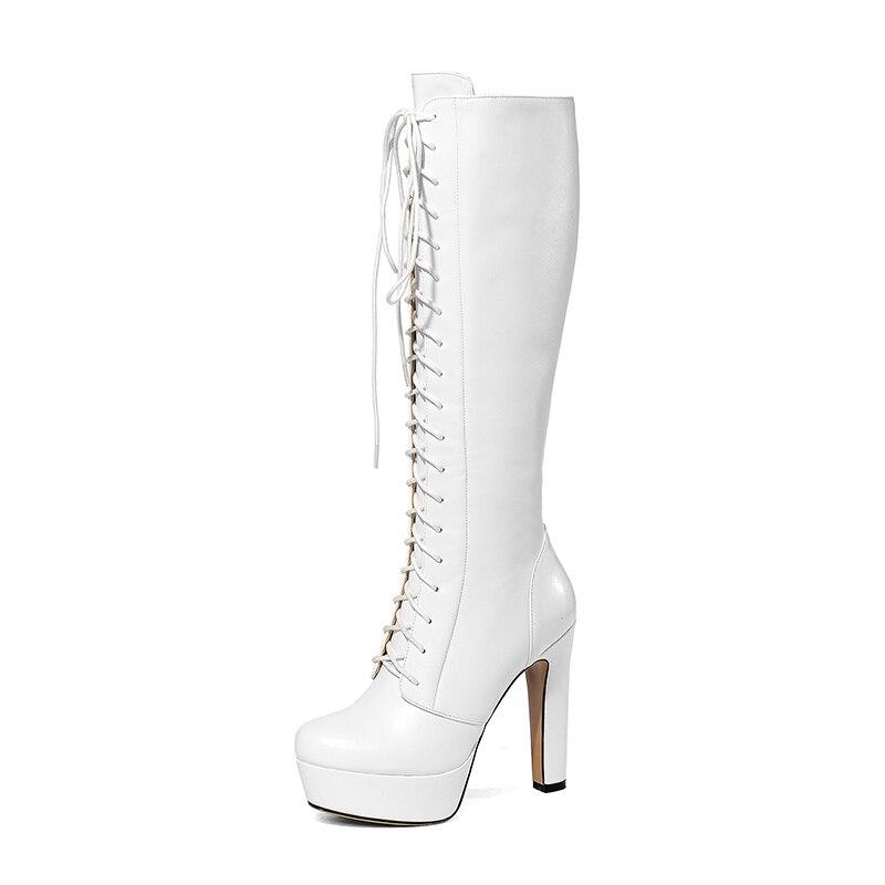 4 d0723 Blanc Nouvelle Mode Carré Femmes Nous Bout Rond Bottes Black Bureau Noir Partie Haute Talons 10 5 D0723 Chaussures White Genou Yifsion Taille CTw5xP5n