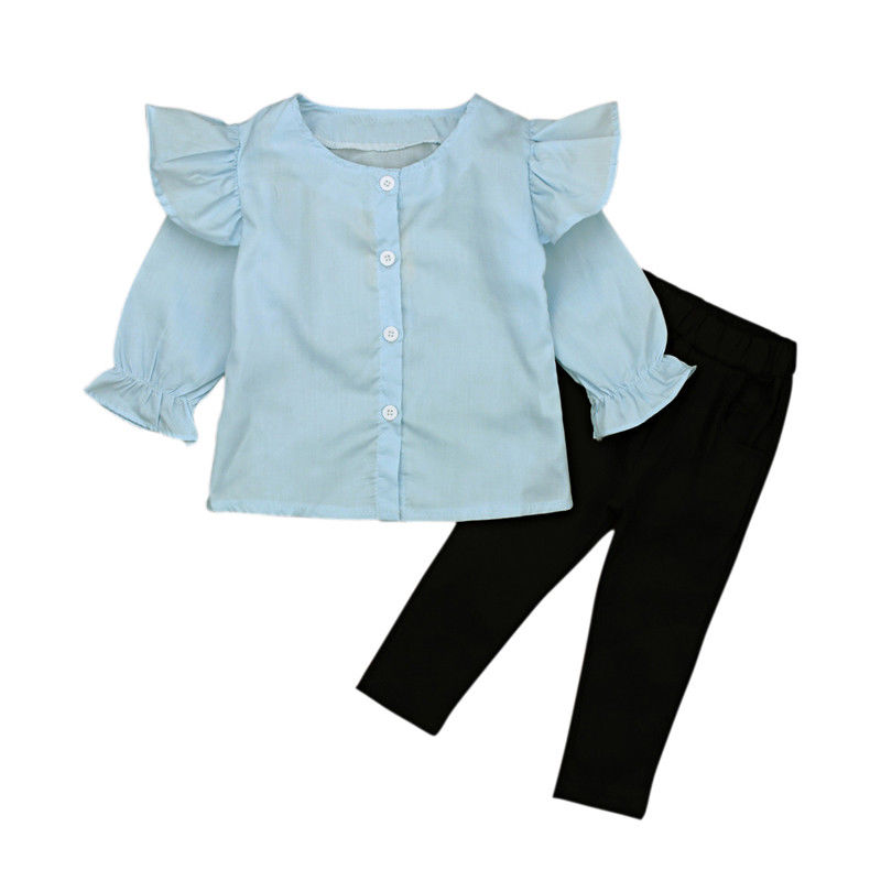 2pcs Toddler Kid Girls Baby Clothes Sets Tops Flare Sleeve Shirts Pencil Pants Outfits Set Casual Children Girl Clothing