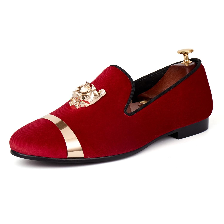 Տղամարդկանց Harpelunde Loafers- ը Նոր ժամանում թավշյա կոշիկներ Կարմիր կոճղեկով հարսանեկան կոշիկ ոսկե մետաղյա հուպով 7-14