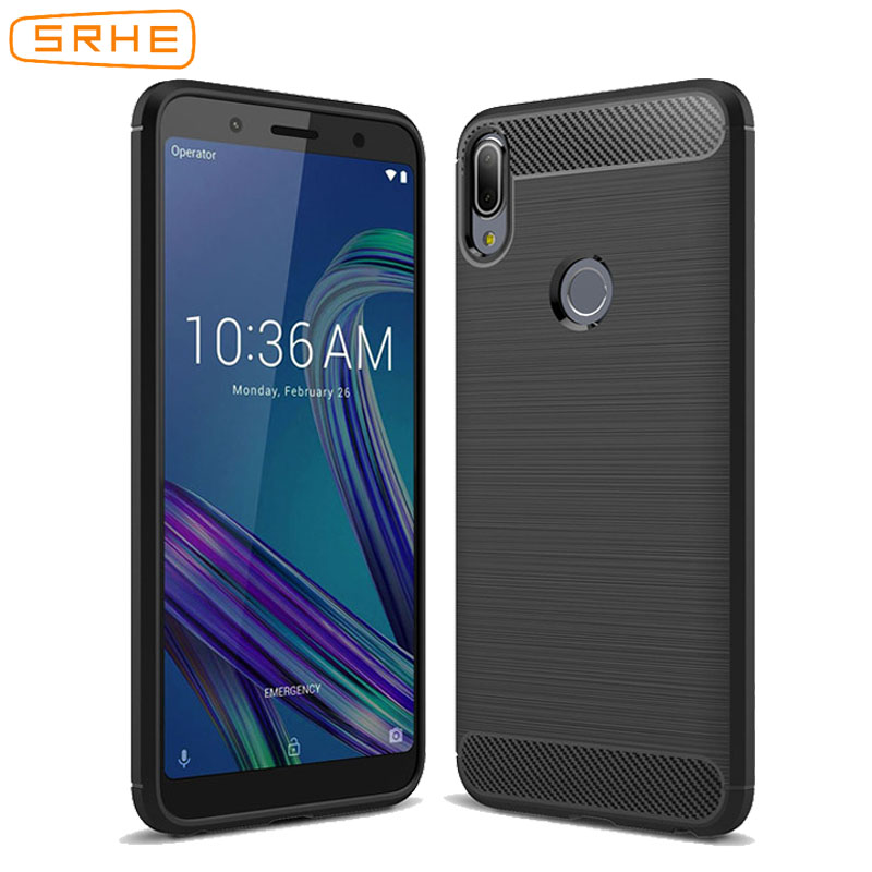 SRHE For Asus Zenfone Max Pro M2 ZB631KL Case Soft TPU Bumper Carbon Fiber Cover For Asus Zenfone Max M2 ZB633KL ZB632KL Cases