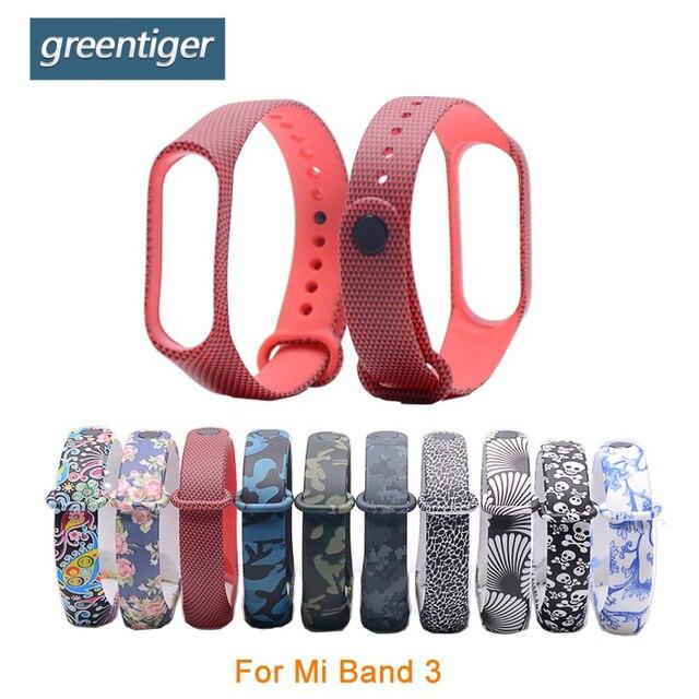 Bracelet en Silicone Greentiger impression couleur sangle de Sport pour xiaomi mi band 3 accessoires de bande intelligente sangle de remplacement pour mi Band 3