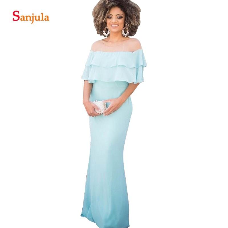 Robes de demoiselle d'honneur bleues avec volants sirène Illusion cou longue mousseline de soie robes de mariée robes para invitadas de boda