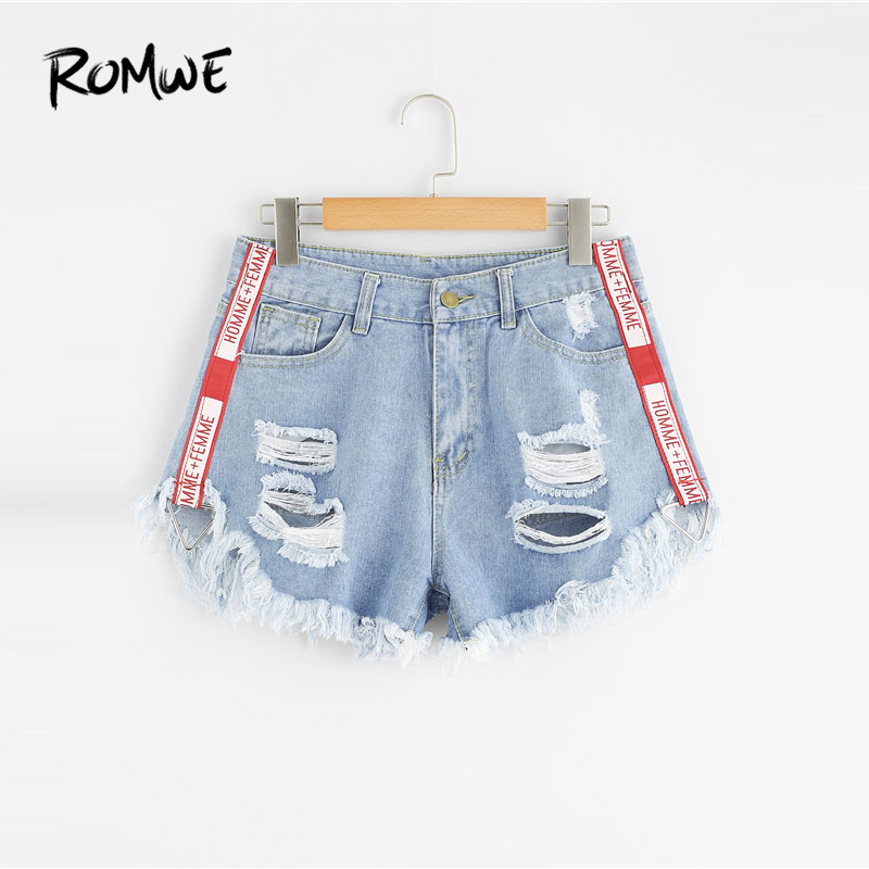 ROMWE 2018 New Arrival Frayed Hem Ripped Denim Shorts Blue Button Fly Mid Waist Shorts Summer Women Clothing