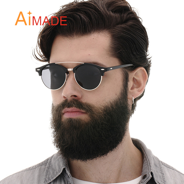 4e3a20fe5bd Aimade 2018 Fashion Coating Polarized Sunglasses Men Women Classic Club  Round Brand Designer Double Bridge Mirrored Sun Glasses