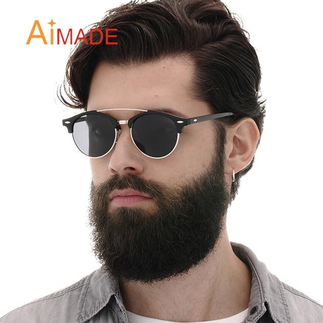0ec59e102c648d Aimade 2018 Mode Revêtement lunettes de Soleil Polarisées Hommes Femmes  Classique Club Ronde Marque Designer Double