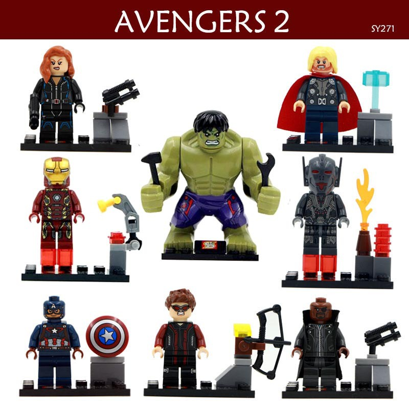 8 PCS/set SY271 Figures Building Blocks  Sets Model Sets the avengers alliance 2 Educational toys compatible with Lego boy gift lepin 02012 city deepwater exploration vessel 60095 building blocks policeman toys children compatible with lego gift kid sets