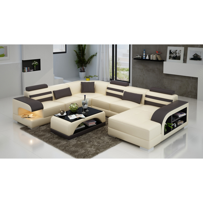 modern sectional corner genuine leather sleeper sofa with chaise