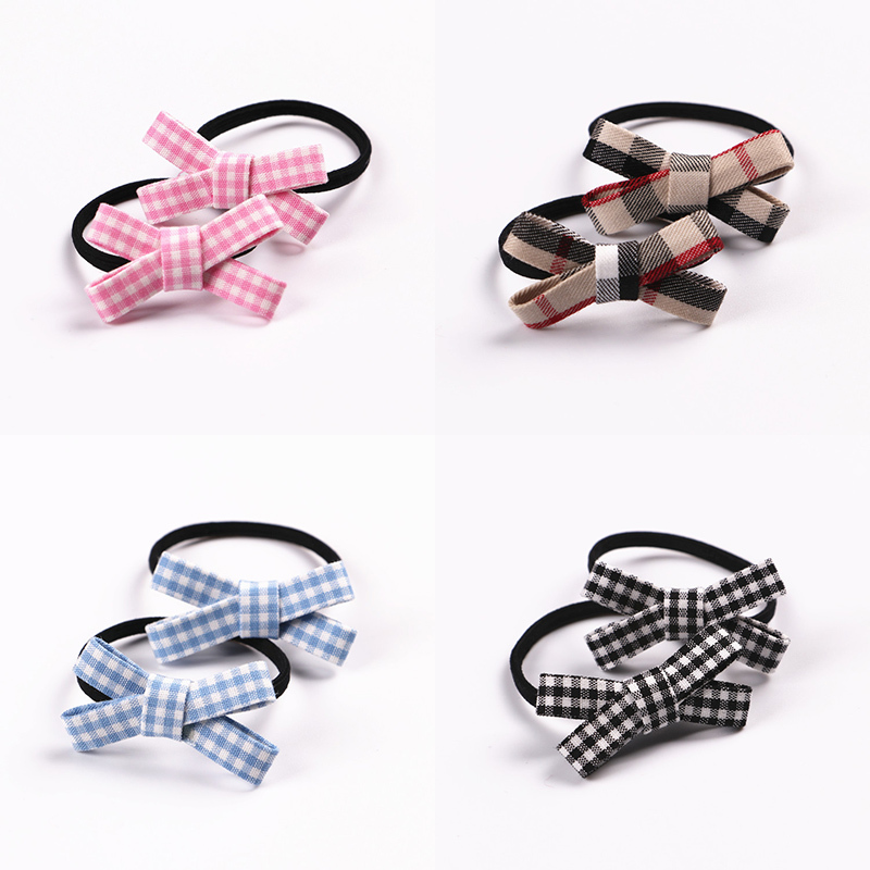 2 PCS  New Small Bowknot Girls Hair Accessories Princess Headwear Kids Elastic Hair Bands Baby Headdress Children Hair Ropes magic elacstic hair bands big rose decor elastic hairbands hair clips headwear barrette bowknot for women girls accessories