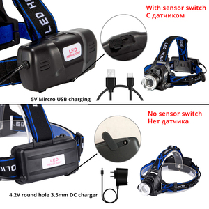 Image 2 - Super bright LED Headlamp With sensor Zoomable fishing lamp 4 Lighting Modes Powered by 2 18650 batteries For camping, adventure