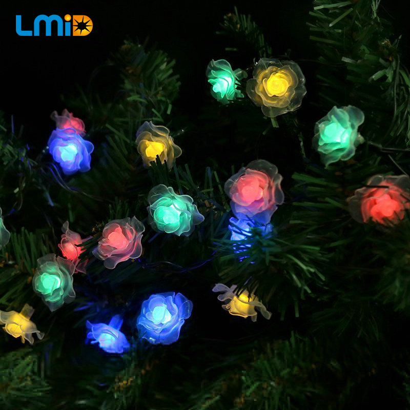 lmid solar christmas lights 6m 30leds colorful rose holiday party garden decorations waterproof outdoor solar powered fairy lamp in solar lamps from lights - Solar Christmas Decorations