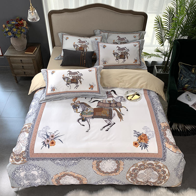 High-end Luxury Egyptian Cotton Bedding Set Exquisite Horse Printed Duvet Cover Fitted Sheet/Bed Sheet Set King Queen Size 4 Pcs