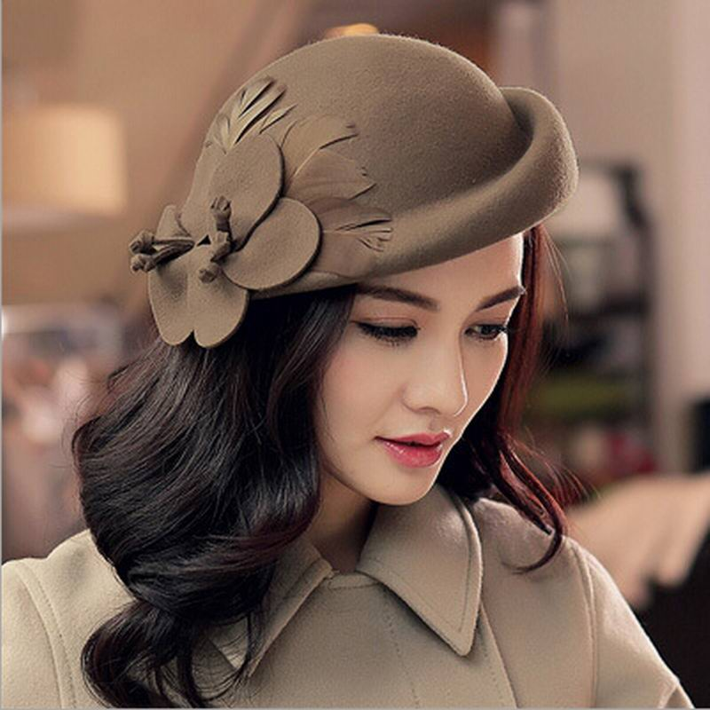 2017 Fashion New Vintage Women Ladies Hat Stewardess Cap Wool Felt Fedora Felt Hat Cap 6 Color  Chapeu Feminino Free Shipping Платье