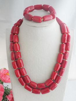 Gorgeous Handmade 2 rzędy czerwony koral bęben naszyjnik ustawia afryki kobiety zestawy biżuterii darmowa wysyłka Z-1971