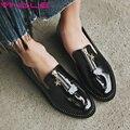 VINLLE 2017 Женщины Насосы Молнии Квадратных Низкий Каблук Британский Весна Осень Женская Обувь Лакированная Кожа Мода Обувь Большой Размер 34-43